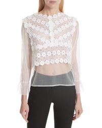 Maje - Tulle Lace Top - Lyst
