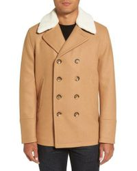 Michael Kors | Peacoat With Faux Shearling Collar | Lyst