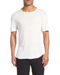 Vince - Raw Hem Linen & Cotton T-shirt - Lyst