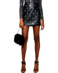 TOPSHOP - Crystal Embellished Faux Leather Miniskirt - Lyst
