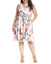 Tahari - Floral Print Tie Waist Fit & Flare Dress - Lyst
