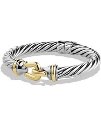 David Yurman - 'buckle' Cable Bracelet With Gold - Lyst