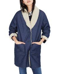 Madewell - Fleece Trim Denim Cocoon Coat - Lyst