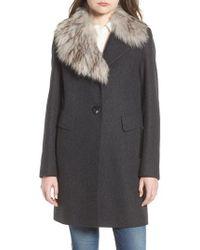 Sam Edelman - Walker Faux Fur Collar Coat - Lyst