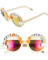 Rad & Refined - Always On Vacay Rainbow Round Sunglasses - Cream/ Multi - Lyst
