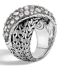 John Hardy - Classic Chain Grey Diamond Pave Crossover Ring - Lyst