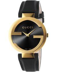 678d99b9ab6 Gucci - Interlocking Leather Strap Watch - Lyst