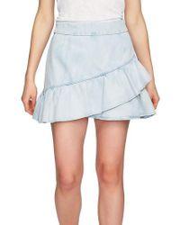 1.STATE - Ruffle Denim Miniskirt - Lyst