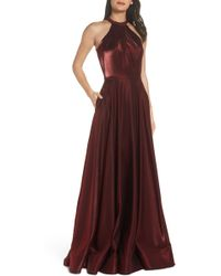 La Femme - Beaded Halter Neck A-line Gown - Lyst