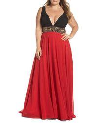 Mac Duggal - Embellished Waist Plunge Gown - Lyst
