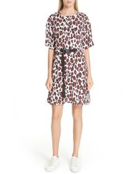 KENZO - Animal Print Belted Dress - Lyst