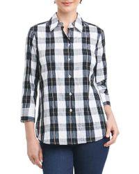 Foxcroft - Sue Shaped Fit Crinkle Plaid Shirt - Lyst