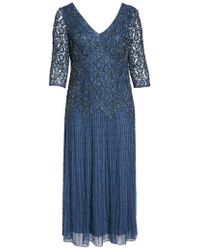 Pisarro Nights   Beaded V-neck Lace Illusion Gown   Lyst