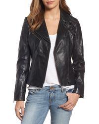 Lamarque - Asymmetrical Zip Leather Biker Jacket - Lyst