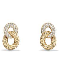 David Yurman - Extra-small Curb Link Drop Earrings With Diamond In 18k Gold - Lyst