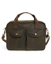 Barbour - 'longthorpe' Waxed Canvas Laptop Bag - Lyst