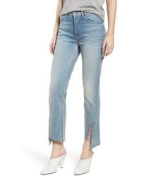 7 For All Mankind - 7 For All Mankind Edie Grommet & Rings Seam Crop Jeans - Lyst