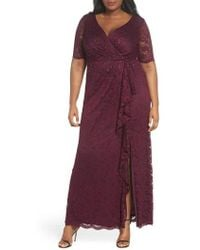 Adrianna Papell - Cascade Ruffle Sequin Lace Gown - Lyst