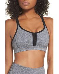 b353be2528197 Lyst - Zella So Hot Stripe Sports Bra in Gray