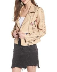 Blank NYC - Embellished Faux Leather Moto Jacket - Lyst