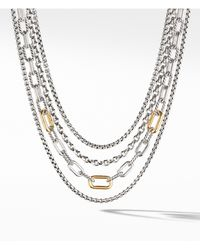 David Yurman - 4-row Mixed Chain Bib Necklace With 18k Yellow Gold - Lyst