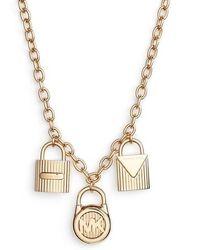 Michael Kors - Padlock Charm Pendant Necklace - Lyst