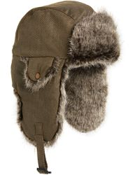 5f26201e Crown Cap - Waxed Cotton Aviator Hat With Faux Fur Lining - Lyst