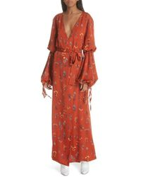 Caroline Constas - Doria Puff Sleeve Wrap Dress - Lyst