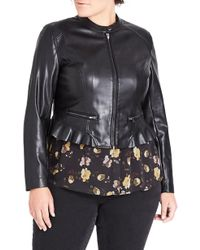 City Chic - Frill Rider Faux Leather Jacket - Lyst