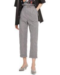TOPSHOP | Check Ruffle Peg Leg Trousers | Lyst