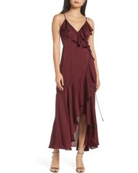 a3dedeabc15e Elizabeth and James Amya Lace-Up Stretch-Crepe Gown in Pink - Lyst