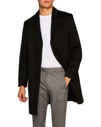 TOPMAN - Wool Blend Overcoat - Lyst