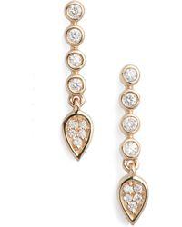 Dana Rebecca - Bezel Diamond Linear Drop Earrings - Lyst