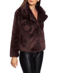 1.STATE - Crop Faux Fur Jacket - Lyst