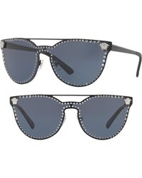 447a05d42c6 Lyst - Versace Medusa 60mm Crystal Shield Sunglasses in Metallic