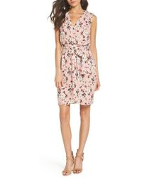 Charles Henry - Floral Faux Wrap Dress - Lyst