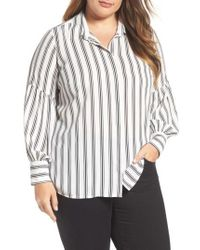 Vince Camuto - Stripe Puff Sleeve Blouse - Lyst