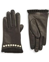 Echo - Imitation Pearl Trim Leather Touchscreen Gloves - Lyst