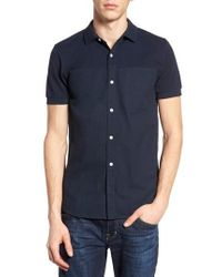 French Connection - Slim Fit Short Sleeve Sport Shirt - Lyst