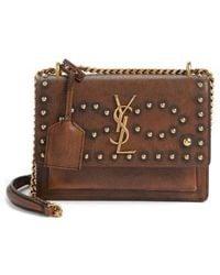 Saint Laurent - Small Sunset Studded Vintage Leather Shoulder Bag - None - Lyst