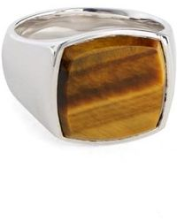 Tom Wood - 'patriot Collection' Cushion Tiger's Eye Signet Ring - Lyst