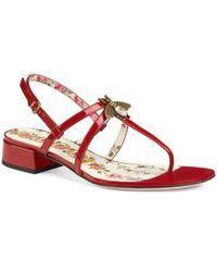 13cb427840b5 Lyst - Gucci Katina Leather Thong Sandals