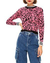 TOPSHOP - Graffiti Jacquard Sweater - Lyst