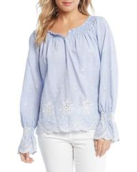 Karen Kane - Bell Sleeve Embroidered Cotton Peasant Blouse - Lyst