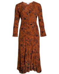 Leith - Bell Sleeve Wrap Midi Dress - Lyst