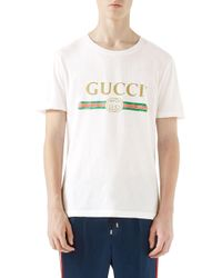 e70591bffe0 Gucci - Distressed Printed Cotton-jersey T-shirt - Lyst
