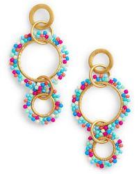 Rebecca Minkoff - Beaded Interlocking Ring Earrings - Lyst