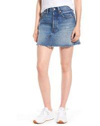 Levi's - Levi's Distressed Denim Skirt - Lyst