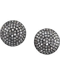 Sheryl Lowe - Pave Diamond Dome Stud Earrings - Lyst