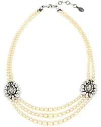 Ben-Amun - Faux Pearl & Crystal Station Necklace - Lyst